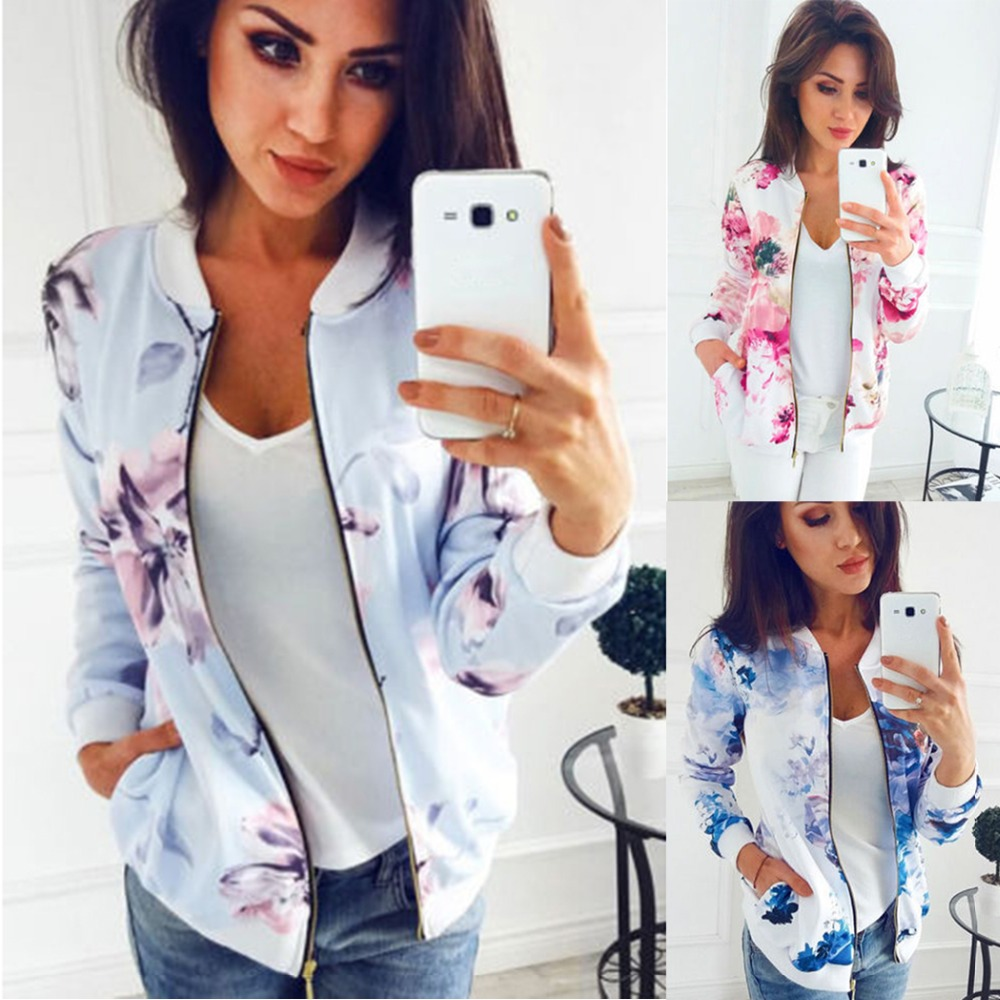 Independent M-5xl Women Bomber Jacket 2018 Floral Print Zipper Basic Coat Streetwear Fashion Long Sleeve Baseball Jackets Top Female Outwear Mild And Mellow Women's Clothing