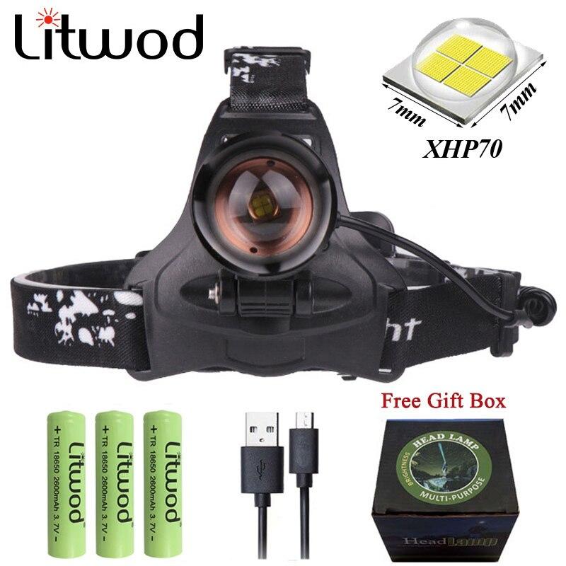 Z20 Litwod 2806 LED XHP70 Kopf lampe fischerei scheinwerfer 32000LM leistungsstarke Led Scheinwerfer zoom kopf licht taschenlampe für camping