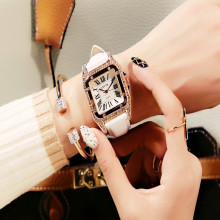 Vintage rhinestone women's watch fashion student quartz watch leather belt ladies watch female models  Fashion & Casual