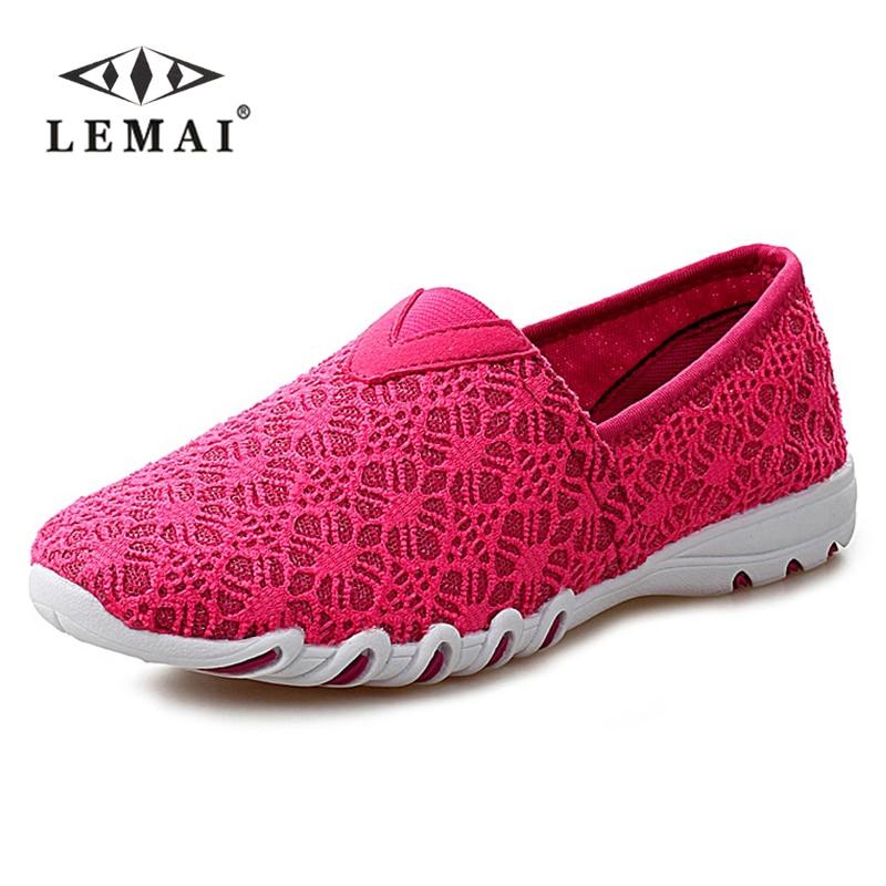 Lemai mujeres de los planos de las mujeres zapatos de verano transpirables mocas