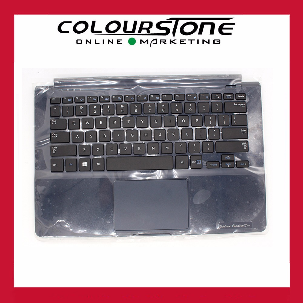 New Blue Laptop Plamrest upper case C cover with US keyboard touchpad for Samsung 905S3G NP905S3G 915S3G NP915S3G BA75-04673A ru laptop keyboard for samsung rf510 rf511 keyboard with c cover case palmrest upper touchpad new