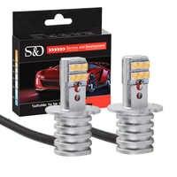 2pcs H3 H1 Car LED Bulbs Fog Light White 1000LM 12-SMD SHARP Chip High Bright Auto Headlight LED Lamp 6000K 12V 24V D040
