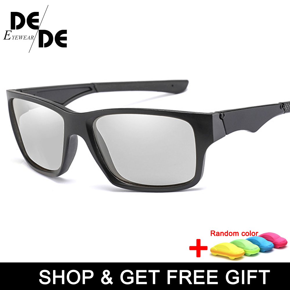 The New Mens Driving Photochromic Sunglasses Men Polarized Discoloration Sun glasses Transition Anti-Glare with box