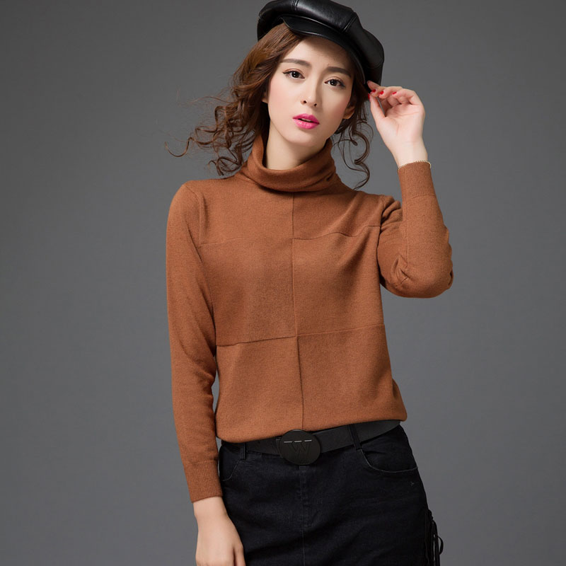 Wome's Cashmere Sweater Pure Color Turtleneck Sweater Fashion Lady Solid Color Wool Sweater Female Warm Tops