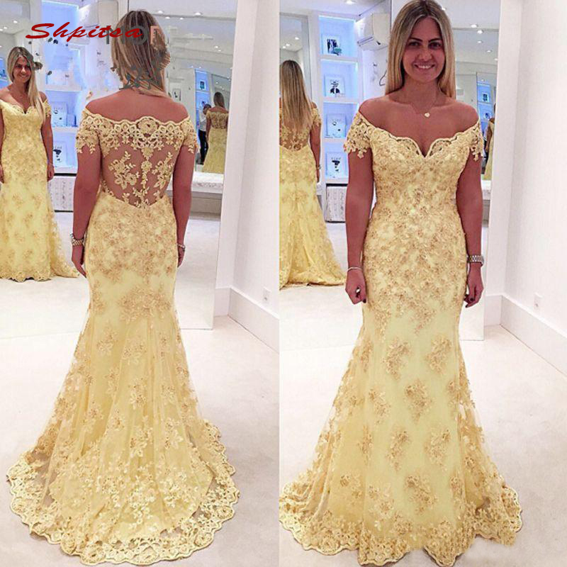 Yellow Long Lace Mermaid   Evening     Dresses   Party Plus Size Ladies Women Formal   Dresses     Evening   Gown