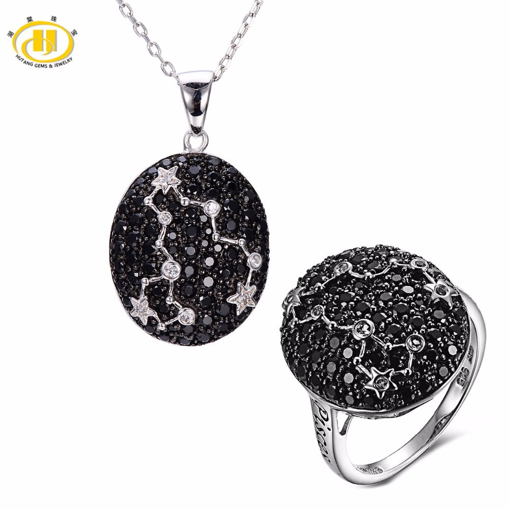Hutang Pisces Black Spinel Pendant & Ring Solid 925 Sterling Silver Sign Fine Jewelry Sets For Gift 19th Feb Until 20th March