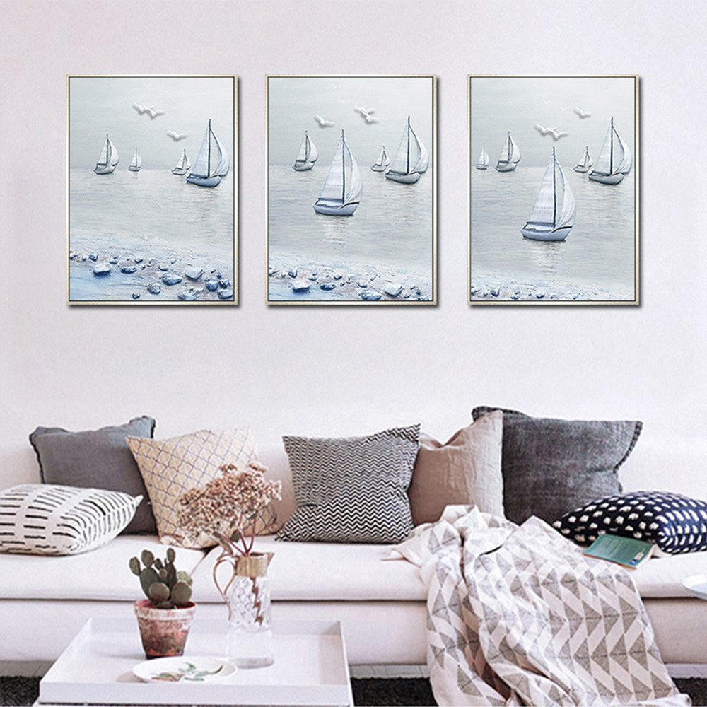 Unframed HD 3 Art Paintings Sea Sailing Canvas Seascape Map Living Room Bird Decoration Painting Free Shipping