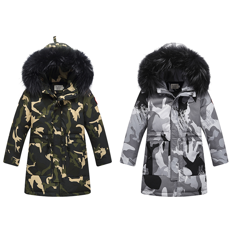 XYF9958 Boys Winter Camouflage Down Jackets Kids Plus Fur Collar Winter Jacket Coat Warm Outerwear Long Coat 85% White Duck Down toddler snowsuit children winter duck down jacket boys warm jackets kids fur collar outerwear girl overalls suits coat bib pants