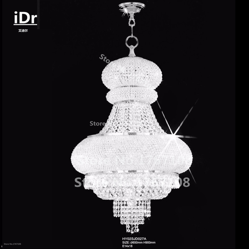 Modern Classical Personality18 Lights Dome Basket Crystal Chandeliers Chrome Finish,d65xh90cm High Quality Free Delivery Chandeliers Ceiling Lights & Fans