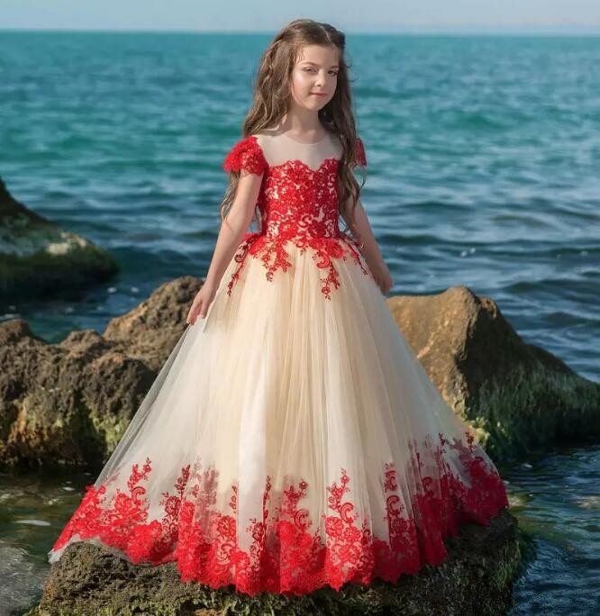 New Red Lace Applique Pageant Dresses for Girls Glitz Short Sleeves Zipper Button Ball Gown Birthday Flower Girl Dresses