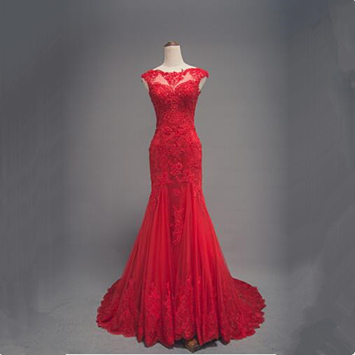 vinca sunny Elegant Arabic Mermaid Evening Dresses 2018 Red Sheer Neck Applique Lace Prom Gowns Robe De Soiree custom made