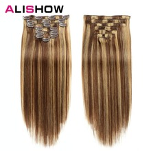 Alishow Clip In Human Hair Extensions Straight Full Head Set 7pcs 100g Machine Made Remy Hair Clip Ins 100% Human Hair Extension wholesale 1000pcs lot 24mm u shaped tip hair extension clip wigs hair snap metal clip for clip in human hair extensions