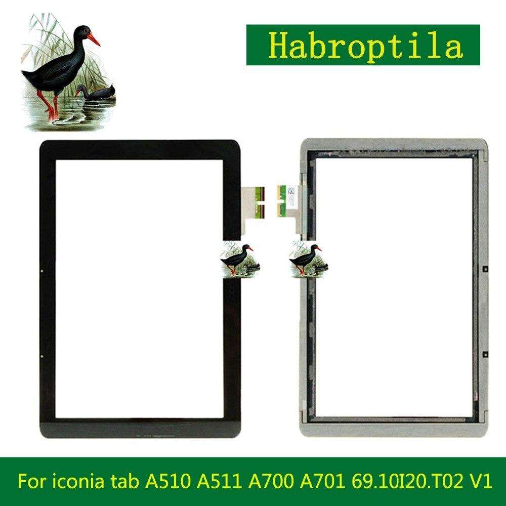 High Quality 10.1 For Acer iconia tab A510 A511 A700 A701 69.10I20.T02 V1 Touch Screen Digitizer Panel Front Glass Lens