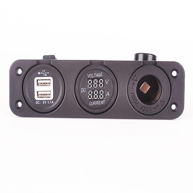 Auto Voltímetro Digital Amperímetro Monitor Atual Tensão Dual USB Carregador de Carro À Prova D' Água Da Motocicleta Cigarro Tomada Mais Leve