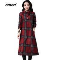 New Fashion Cotton Woolen Vintage Print Women Casual Long Loose Autumn Winter Dress Vestidos Femininos 2017