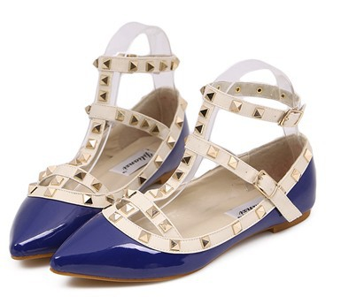 Blue-New-rivet-pointed-toe-women-color-block-patent-leather-gladiator-flats-sexy-stud-women-ballet-flat