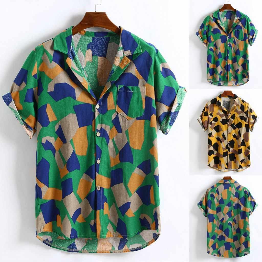 Yarda europea para hombre estampado Hawaiano algodón Lino suelto manga corta Casual botones T shirt40 Envío Directo