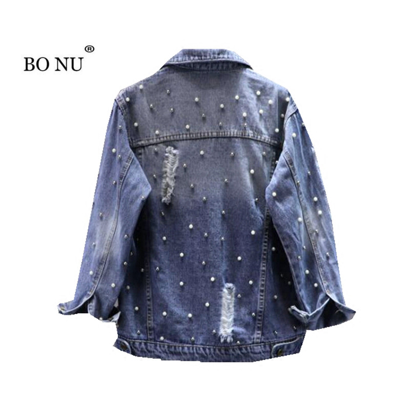 BONU Autumn Pearls Loose Denim Jacket For Women Streetwear Beading feminine coat BF Womens Windbreaker Oversize Jeans Jacket