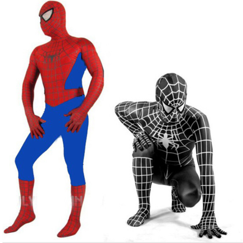 Spiderman Costume Spider Red blue Black Man Suit Spider-man Costumes Adults Children Kids Clothing Spider-Man Cosplay
