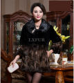 Glamorous Womens Mink Fur Coat with Whole Hide Mink Collar & Rex Rabbit Fur Parka Elegant Winter Black Long Overcoat LX00117