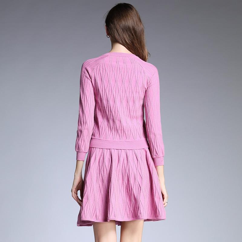 Fil Femmes Qualité À Chandail Mini Longues Black pink Lurex Tricots Ensemble Tricoter Manches Haute Casual Pulls Automne Hiver Jupe 2018 PqdPTz