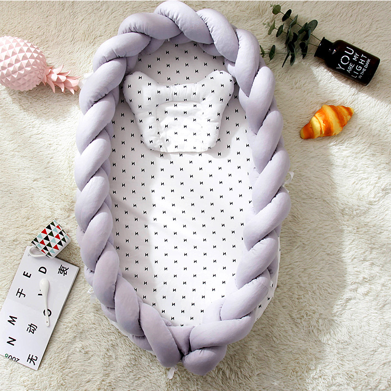 Cotton Woven Folding Portable Crib Bed Bionic Removable And Washable Manual Fence Three-dimensional Protective Crib