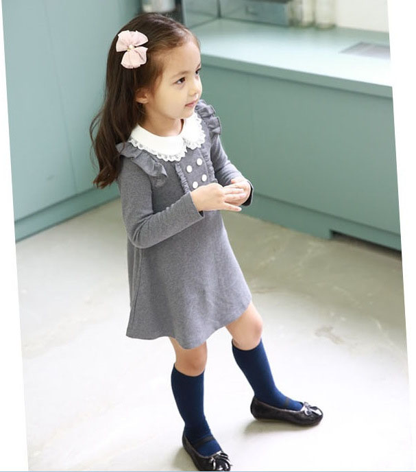 HTB1445fLpXXXXa1XVXXq6xXFXXXn - 2017 spring autumn new arrival cotton girl korean clothes doll collar long sleeved casual girls A-line mini dress kids clothing