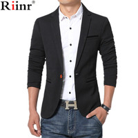 Riinr New Arrival Luxury Men Blazer New Spring Fashion Brand High Quality Cotton Slim Fit Men