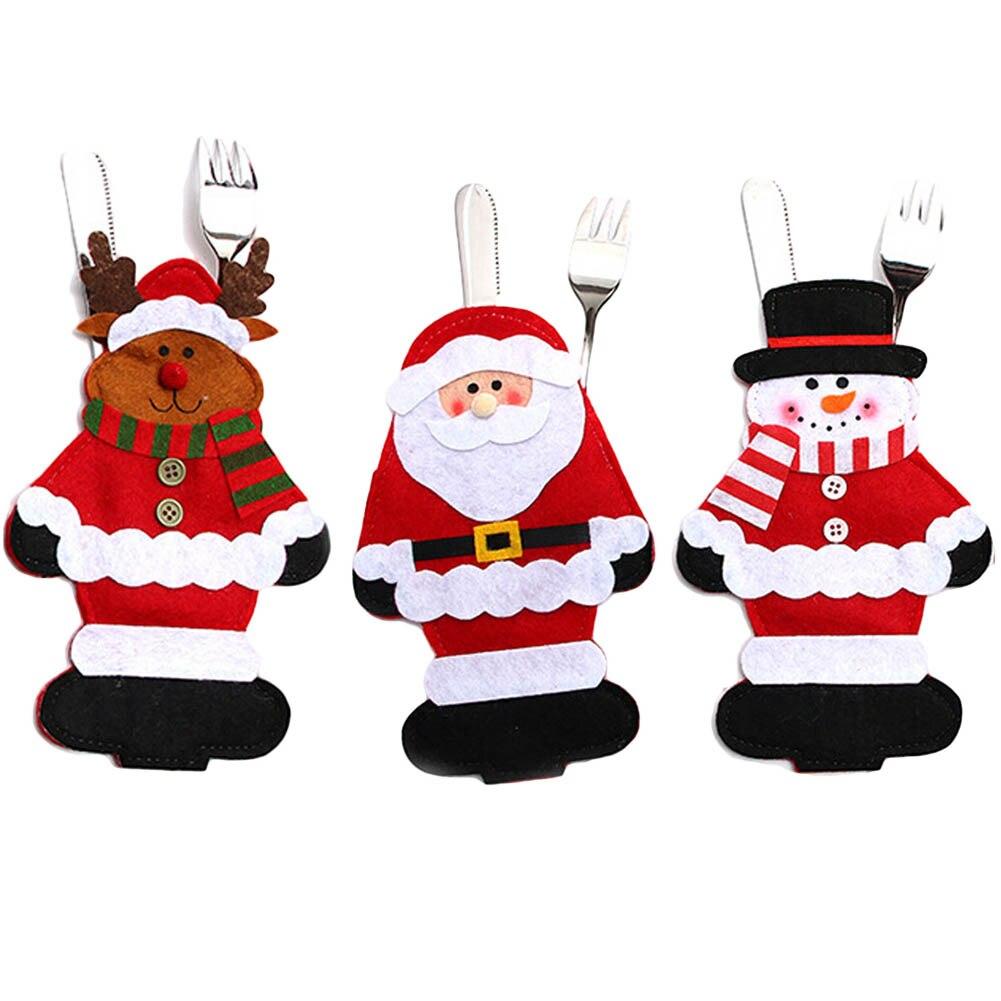 Kerst Tafel Vork Mes Bag Pouch Pocket Servies Diner Bestek Decor Servies Nonwevens Kerstman Herten Decor