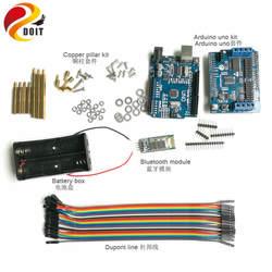 Bluetooth управления комплект с HC-06 модуль + UNO доска + мотор драйвер платы + Дюпон линия + муфта комплект для arduino автомобиля