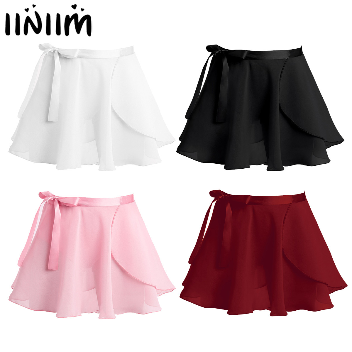 Iiniim Kids Girls Ballet Dance Basic Classic Chiffon Mini Pull-On Wrap Skirt With Waist Tie Costume For Performance Dancing Wear