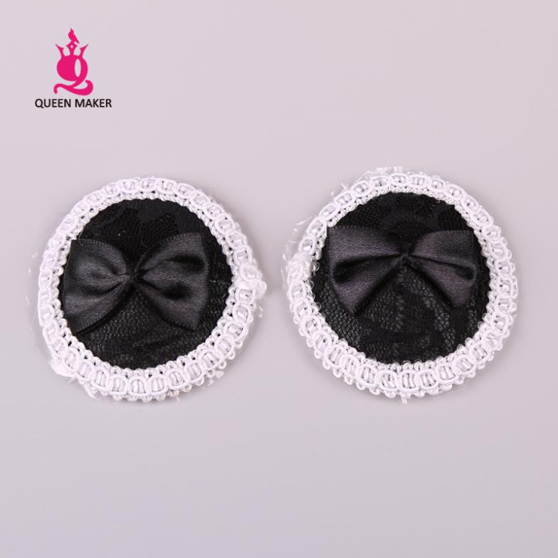 QueenMaker Black round Sexy Mini temptation chest against black bow white lace taste repeated use pads