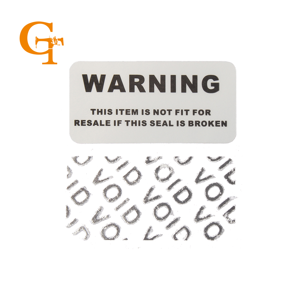 matte silver VOID sticker security warranty seal label VOID if removed, electronic product one time use warning seal stickers