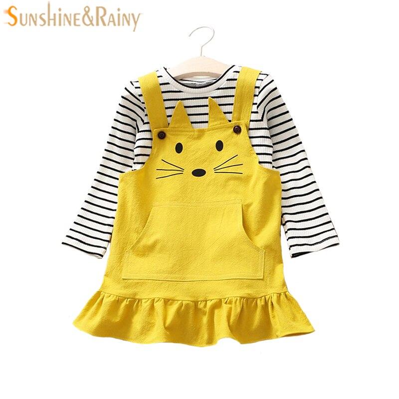 2 шт. Комплекты одежды для маленьких девочек футболка с длинными рукавами + cat платье с вышивкой наряды Одежда для девочек Детский комплект О...