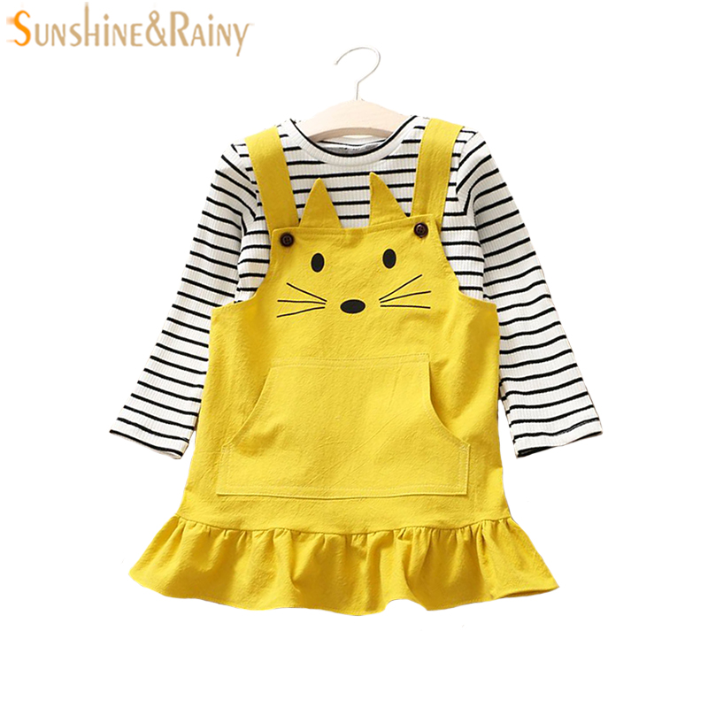 2PCS Toddler Kids Baby Girls Clothes Sets Long Sleeve T-shirt + Cat Embroidery Dress Out ...