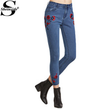 Sheinside Embroidered Jeans Women Blue Floral Low Waist Sexy Crop Skinny Jeans 2017 New Fashion Spring Vintage Zip Pencil Jeans