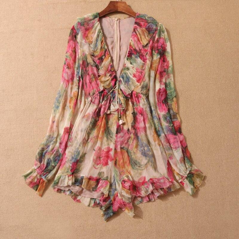Для женщин Разноцветные Цветочный принт одежда с длинным рукавом Melody плавающий floral print Silk Playsuit