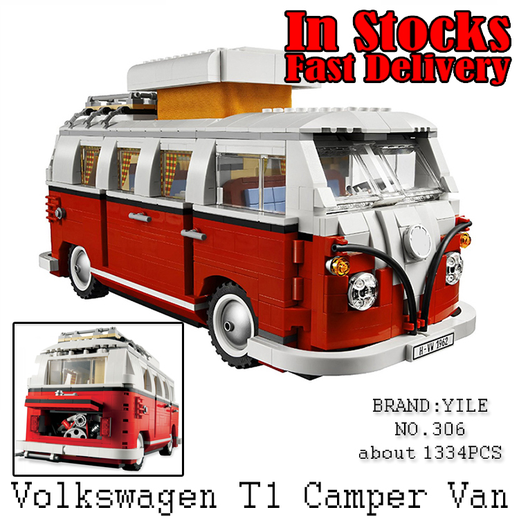 YILE Technic Creator Volkswagen T1 Camper Van Model Building Blocks Bricks Christmas Toys for children gifts Compatible 10220 new lepin 20054 4237pcs creator camper van model building kits bricks toys compatible gifts 10220