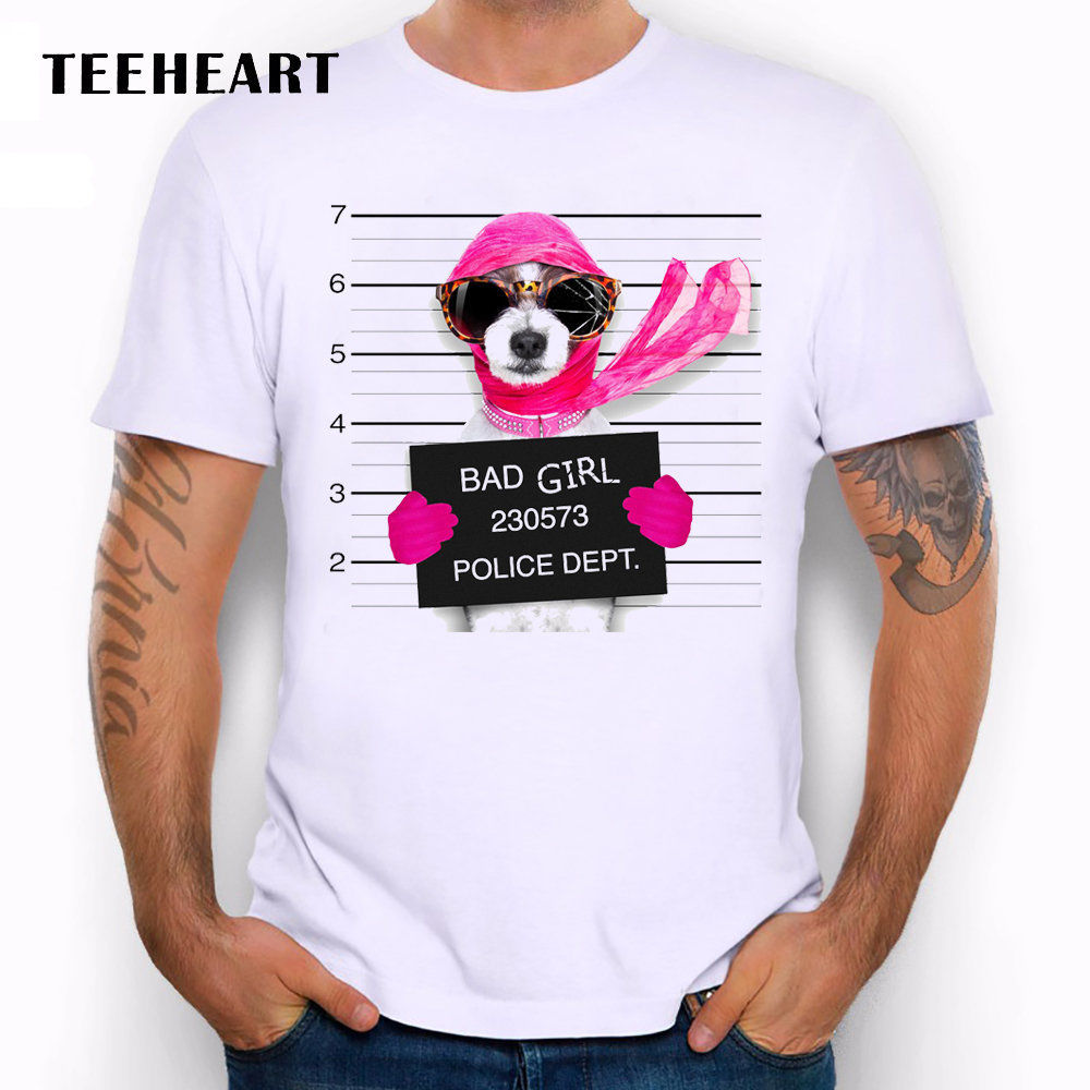 Wanted Bad Dogs Mugshot Miss Maltese Pink Scarf Funny Joke Men T Shirt Tee