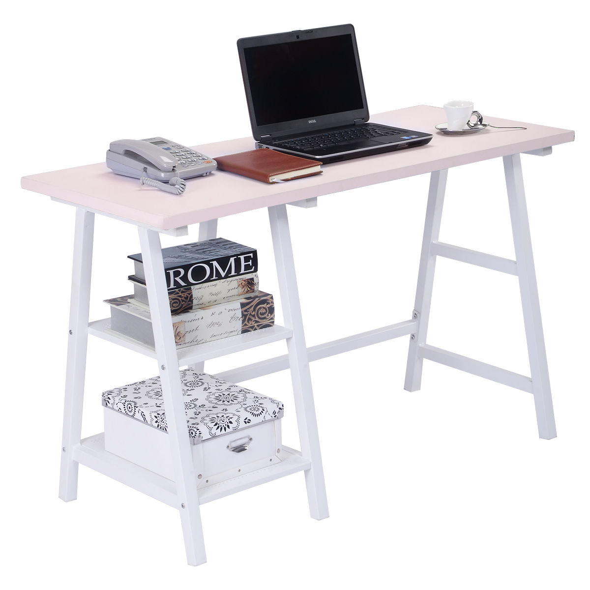 Giantex Office Living Room Furniture Modern Trestle Desk Laptop Writing Table with Stora ...