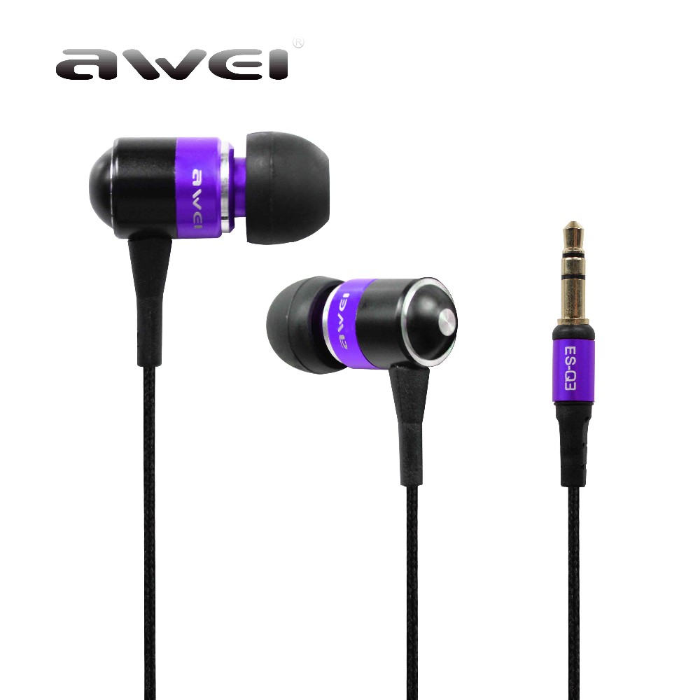 In-Ear Earphone Awei ES Q3 Stereo Earbuds Super Bass Sound Isolation Headset For iPhone for Samsung for Huawei MP3 Mobile Phones kuroko s basketball cosplay kagami taiga aomine daiki q version 9cm 3 5 boxed pvc gk garage kits action figures toys 5pcs set