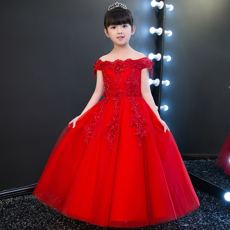 2017New Summer Girls Fashion Cute Sleeveless Princess Dress Kids Children Red Color Tutu Wedding Birthday Party Ball Gown Dress cute girls fashion dress summer kid girls sleeveless belt flowers tutu princess party dresses ball gown kids dresses