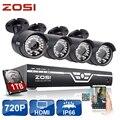 ZOSI 8CH CCTV Sistema 720 P HDMI CCTV AHD DVR 4 PCS 1.0MP Câmera de Segurança Ao Ar Livre IR 36Led 1500TVL Home Sistema de Vigilância 1 TB HDD