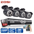 ZOSI 8CH CCTV System 720P HDMI AHD CCTV DVR 4PCS 1.0MP IR Outdoor Security Camera 36Led 1500TVL Home Surveillance System 1TB HDD