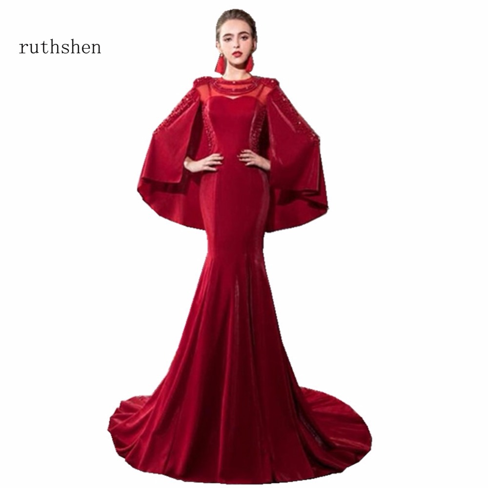 ruthshen Vestido Fashion Sweet   Evening     Dress   Vintage Mermaid Long Red   Dress   With Shawl For Women Special Occasions Sleeveless