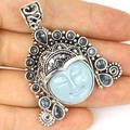 Freedom Goddess Face Torquoise Color. London Blue Topaz SheCrown  Silver Pendant 53x42mm