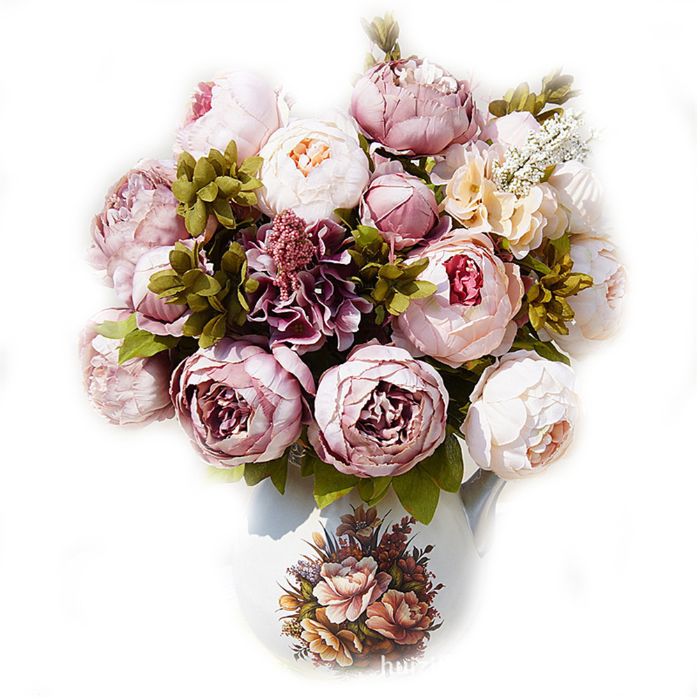 High Quality 8 Heads Elegant Artificial Peony Silk Flowers Floral