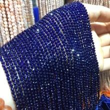Маленькие бусины из натурального камня Турмалин сапфир 2,3, 4,5 мм сечение свободные бусины для изготовления ювелирных изделий ожерелье DIY браслет(38 см