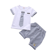 Boys set summer new 2018 childrens short sleeve baby cotton fashion two-piece 1-4 years old kids clothes boys