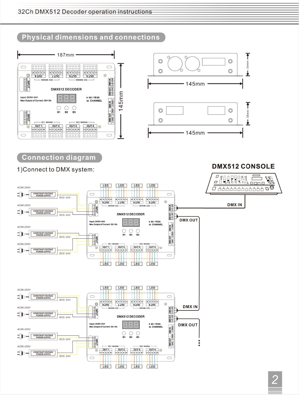 32 Channel 96A RGBW DMX 512 LED Decoder Controller DMX Dimmer DC5 24V RGBW RGB LED light 8 Bit/16 Bit - 3